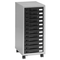Pierre Henry Multi Drawer Storage Cabinet Steel 12 Drawers W300xD395xH720mm Silver and Black Ref 095993