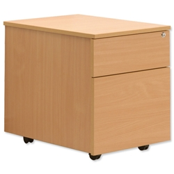 Sonix Mobile Filing Pedestal Low 2-Drawer W400xD600xH600mmBeech
