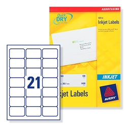Avery J8160 Inkjet Labels 21 Labels Per Page 63.5x38.1mm Ref J8160-100 - 100 Sheets
