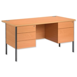 Trexus Basics Desk Rectangular with 2 Fixed Pedestals Graphite Legs 1500mm W1500xD800xH725 Beech