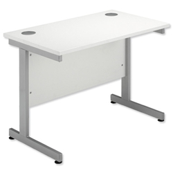 Sonix Contract Return / Extension Desk Silver Legs W1000xD600xH720mm White - Item image