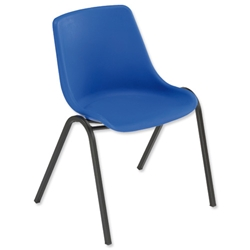 Trexus Polypropylene Chair Stackable with Black Frame Seat W460xD420xH460mm Blue