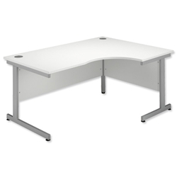 Sonix Contract Radial Desk Right Hand Silver Legs W1800xD1160xH720mm White - Item image