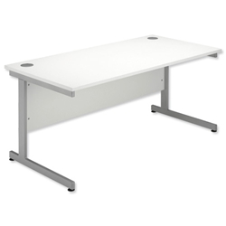 Sonix Contract Desk Rectangular Silver Legs W1400xD800xH720mm White - Item image