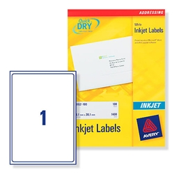Avery J8167 Inkjet Labels 1 per sheet 199.6x289.1mm Ref J8167-100 - 100 Labels