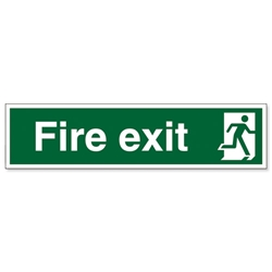 Stewart Superior Fire Exit Sign Man to Right 600x150mm Polypropylene Ref SP84PVC