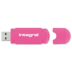 Integral EVO Neon 8GB USB Flash Drive Fluorescent Pink Ref INFD8GBEVONEONPK - Item image