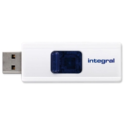 Integral Slide 4GB Flash Drive Retractable White Ref INFD4GBSLDWH - Item image