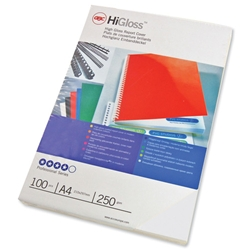 GBC Binding Covers Plain 250gsm A4 Gloss White Ref 48900 - Pack 50x2