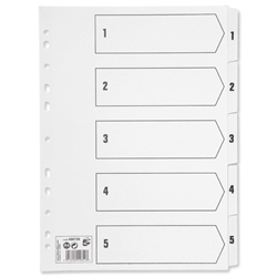 5 Star Office Index 230 micron Card with Clear Mylar Tabs 1-5 A4 White