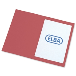 Elba Square Cut Folder Recycled Mediumweight 250gsm Foolscap Red Ref 100092117 - Pack 100 - Item image