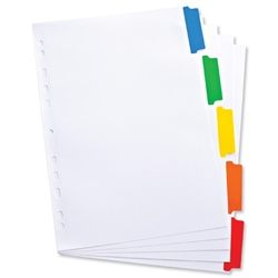 Elba Index Mylar-reinforced Europunched 5-Part with Coloured Mylar Tabs A4 White Ref 100204963