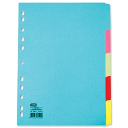 Elba Card Dividers Europunched 5-Part A4 Plus Extra Wide Assorted Ref 100080809 - Item image