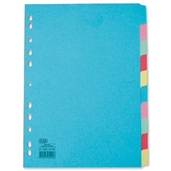Elba Card Dividers Europunched 10-Part A4 Assorted Ref 100080806 - Pack 25 - Item image