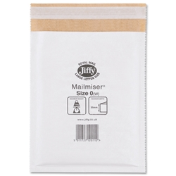 Jiffy Mailmiser No.0 White Bubble-lined Protective Envelopes 140x195mm Ref JMM-WH-MP0 - Pack 10