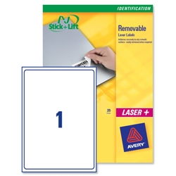 Avery L4735 White Removable Mini Laser Labels 210x297mm Ref L4735REV-25 [25 Sheets] - Item image