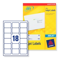 Avery J8161 Inkjet Address Labels 63.5x46.6mm 18 per Sheet Ref J8161-100 - Pack 100