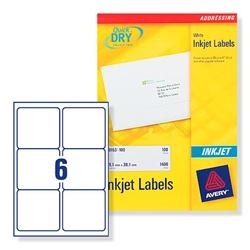 Avery J8166 Inkjet Address Labels 99.1x93.1mm 6 per Sheet Ref J8166-100 - Pack 600