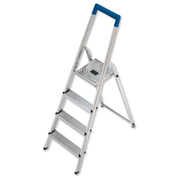 Folding Aluminium Ladder 4 Non Slip Ribbed Steps 3.9kg