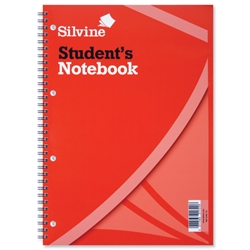 Silvine Student Spiral Notebook Wirebound Soft Cover Ruled Punched 120 Pages 210x297mm Ref 141 - Pack 12