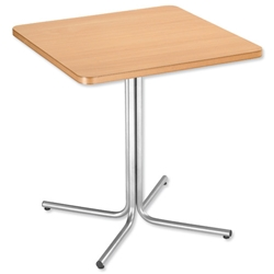 Trexus Cafe/Canteen Square Table Silver-effect Frame W700xD700xH755mm Beech Ref PS921S