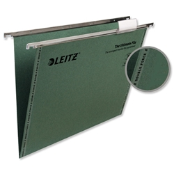 Leitz Ultimate Suspension File Recycled with Tabs Inserts V-Base A4 Green Ref 17420055 [Pack 50] - Item image