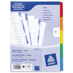 Avery Index Multipunched with Coloured Mylar Tabs 5-Part A4 White Ref 05467501 - Item image