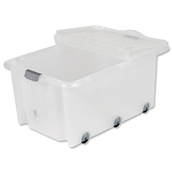 Strata Supa Storemaster Crate and Folding Lid 6 Wheels 75 Litres Clear Ref HW359CLR - Pack 5