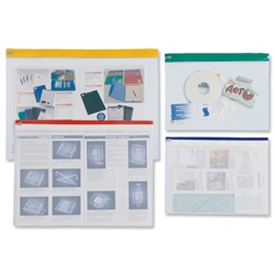 Zip Pouch Lightweight Polythene Clear with Coloured Seal A3 Assorted [Pack 25]