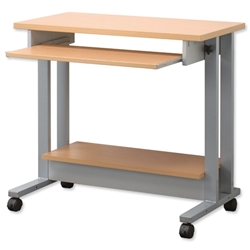 Trexus Workstation Height-adjustable Mobile with Keyboard and Printer Shelves W850xD450xH770-1020mm Beech
