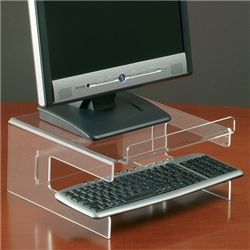 TFT Monitor Stand Acrylic with Keyboard Storage for 19in H150mm Clear - Item image