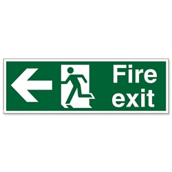 Stewart Superior Fire Exit Sign Man and Arrow Left 600x200mm Polypropylene Ref SP078PVC