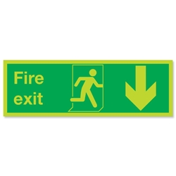 Niteglo Fire Exit Sign Man and Arrow Down 600x200mm Polypropylene Ref SP0801PLV