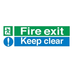 Stewart Superior Fire Exit Sign Keep Clear 600x200mm Polypropylene Ref SP055PVC