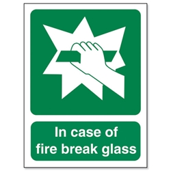 Stewart Superior In Case Of Fire Break Glass Self Adhesive Sign Ref SP074SAV