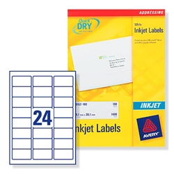 Avery J8159 Inkjet Address Labels 64x34mm 24 per Sheet Ref J8159-100 - 100 Sheets