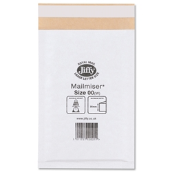 Jiffy Mailmiser No.00 White Bubble-lined Protective Envelopes 115x195mm Ref JMM-WH-00 - Pack 100