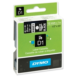 Dymo D1 White on Black 12mm x 7m Standard Pocket Tape Ref 45021