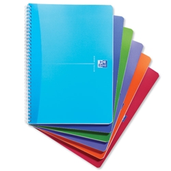 Oxford Office Notebook Twin Wirebound Plastic Ruled 180pp 90gsm A4 Bright Assorted Ref 100104241 - Pack 5