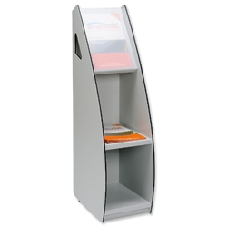 Magazine Stand Mobile With Clear Display Window Grey