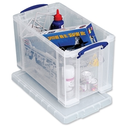Really Useful Storage Box Plastic Lightweight Robust Stackable 24 Litre W290xD465xH270mm Clear Ref 24C