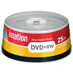 Imation DVD+RW Rewritable Disk on Spindle 4x Speed 120min 4.7GB Ref i16867 - Pack 25
