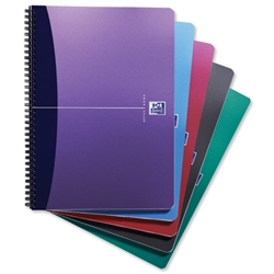 Oxford Office Notebook Wirebound Polypropylene-covered A4 Assorted Ref 100101918 - Pack 5