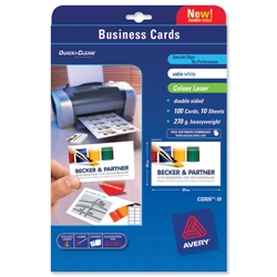 Avery C32026 Quick and Clean Colour Laser Business Cards Laser Satin Ultra White Ref C32026-10 [Pack 100] - Item image