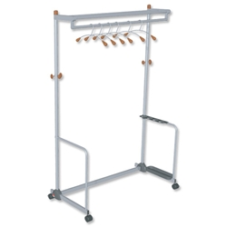 Alba Coat and Garment Rack Mobile Lockable Castors Capacity 40-50 Hangers W1200xD600xH1800mm Ref PMLUXWL6 - Item image