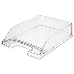 Letter Tray Robust Polystyrene High Sided with Extra Label Space Clear