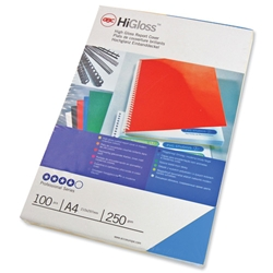 GBC Binding Covers Card Plain 250gsm A4 Gloss Blue Ref CE020020 - Pack 50x2