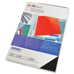 GBC Binding Covers Card Plain 250gsm A4 Gloss Black Ref CE020010 - Pack 50x2