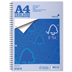Silvine Notebook Twin Wirebound FSC Paper Perforated 160pp A4 Ref FSCTW80 - Pack 5