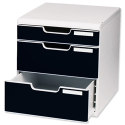 Multiform Modulo Filing Unit 3 Drawer Set with Lock A4 Grey and Black Ref 325014D
